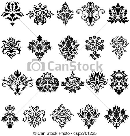 Damask clipart single Damask Stock Illustrations emblem of
