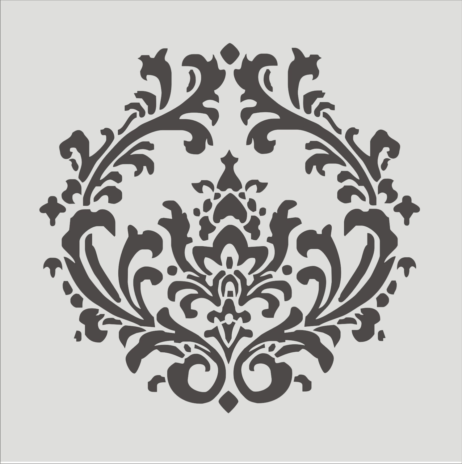 Damask clipart single Border 8 Stencil  Wall