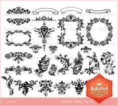 Damask clipart wedding invitation Clipart Cards Designs Instant 0174