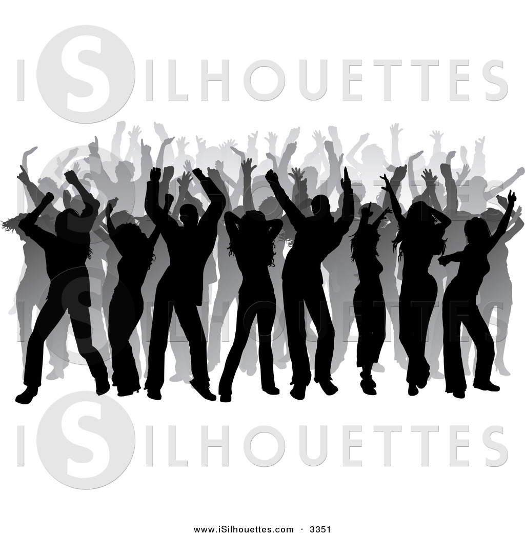 Party clipart silhouette Silhouetted Black Gray a Clipart
