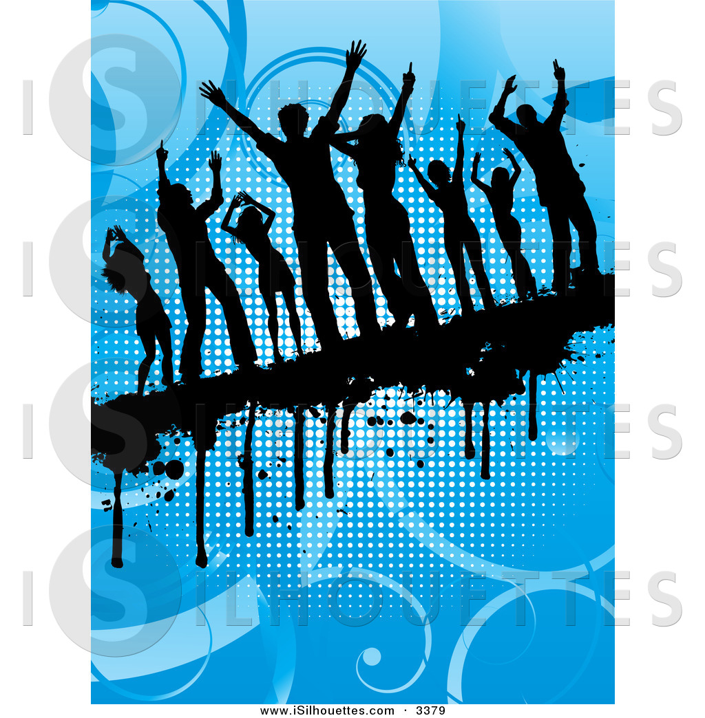 Background clipart dance floor Dripping Grunge Silhouette on Party