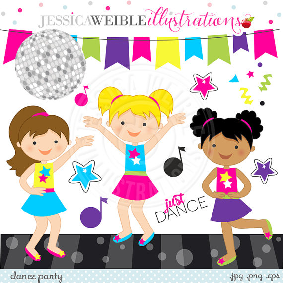 Disco clipart disco party Cute Dancing Digital Party from