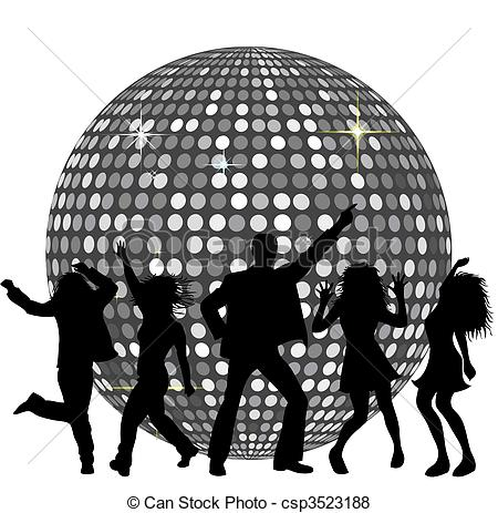 Disco clipart fete Ball and csp3523188  dancing