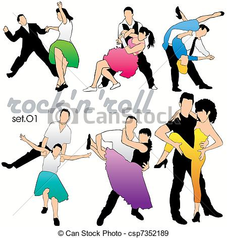 Danse clipart rock n roll Csp7352189 Vectors Dancers Rock'n'roll Rock'n'roll