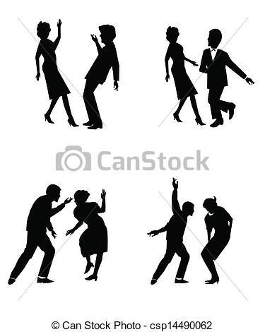 Danse clipart the twist Twist Clip the couples silhouette