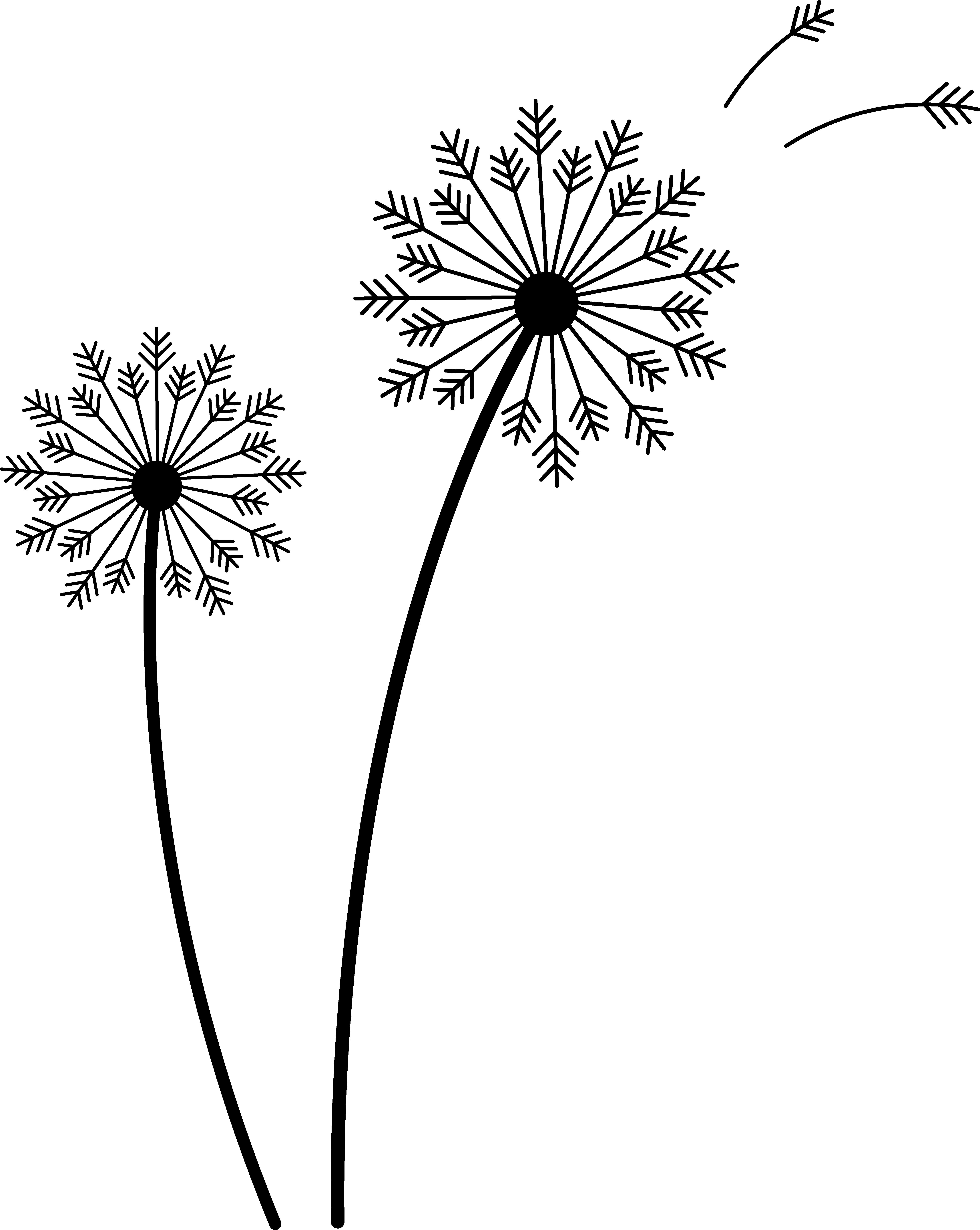 Drawn dandelion silhouette #14