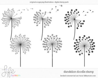 Dandelion clipart Doodle Doodle Digital Dandelion Dandelion