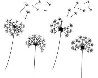 Dandelion clipart Instant Dandelions Clipart Digital commercial