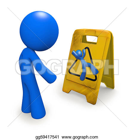 Danger clipart wet floor Danger man 3d as Drawing