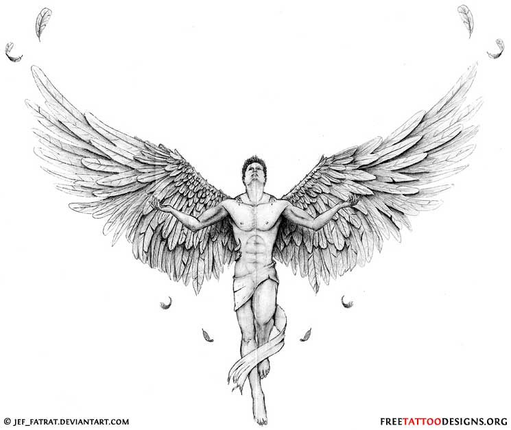 Drawn angel guy Angel Tattoo · Angel and