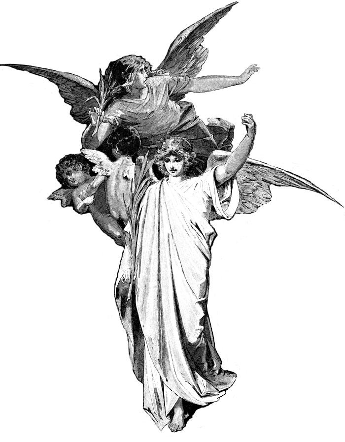 Drawn angel black and white #10