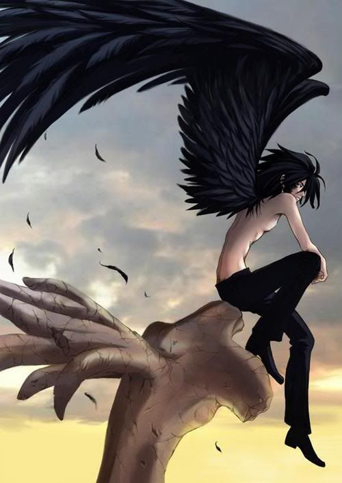 Dark Angel clipart black kid Male Wings Anime with angel