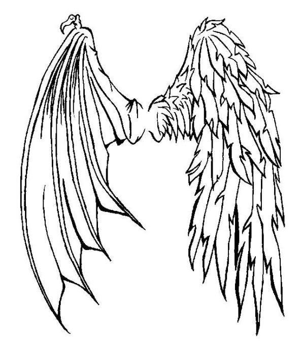 Drawn demon head Tattoo Angel Half Half Demon
