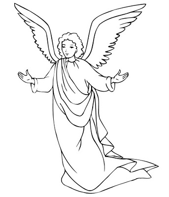 Angel clipart coloring page #9
