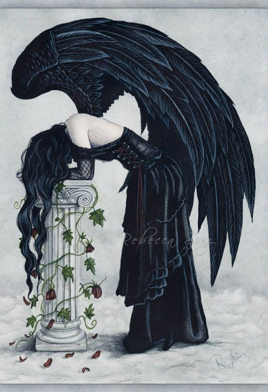 Drawn raven angel Images Gothic Watercolor Angel Column