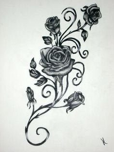 Drawn red rose hand drawn Rose tattoos vine template Rose