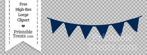 White clipart pennant banner Treats Banner Navy Bunting Banner