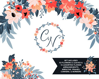 Dark Blue clipart coral ClipArt Flowers Wedding Navy Leaves
