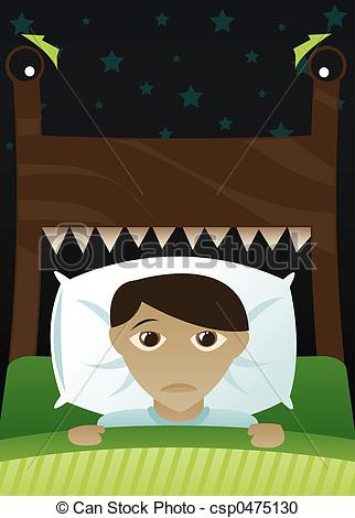Bed clipart scared the dark Boy\'s  Illustration of Little