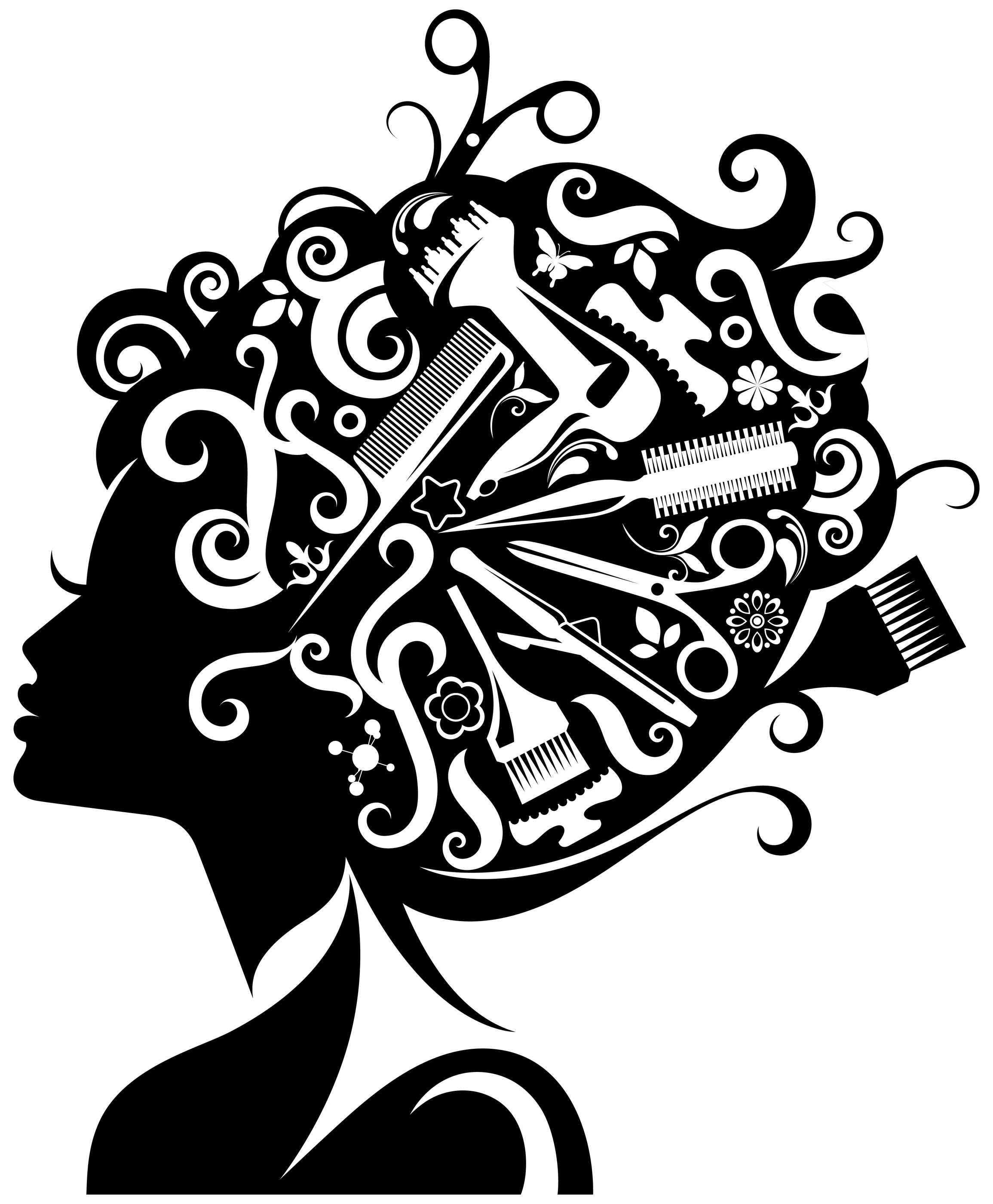 Beautiful clipart cosmetology Clipart hair Black Vector