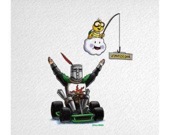 Drawn night Etsy Kart souls Mario art
