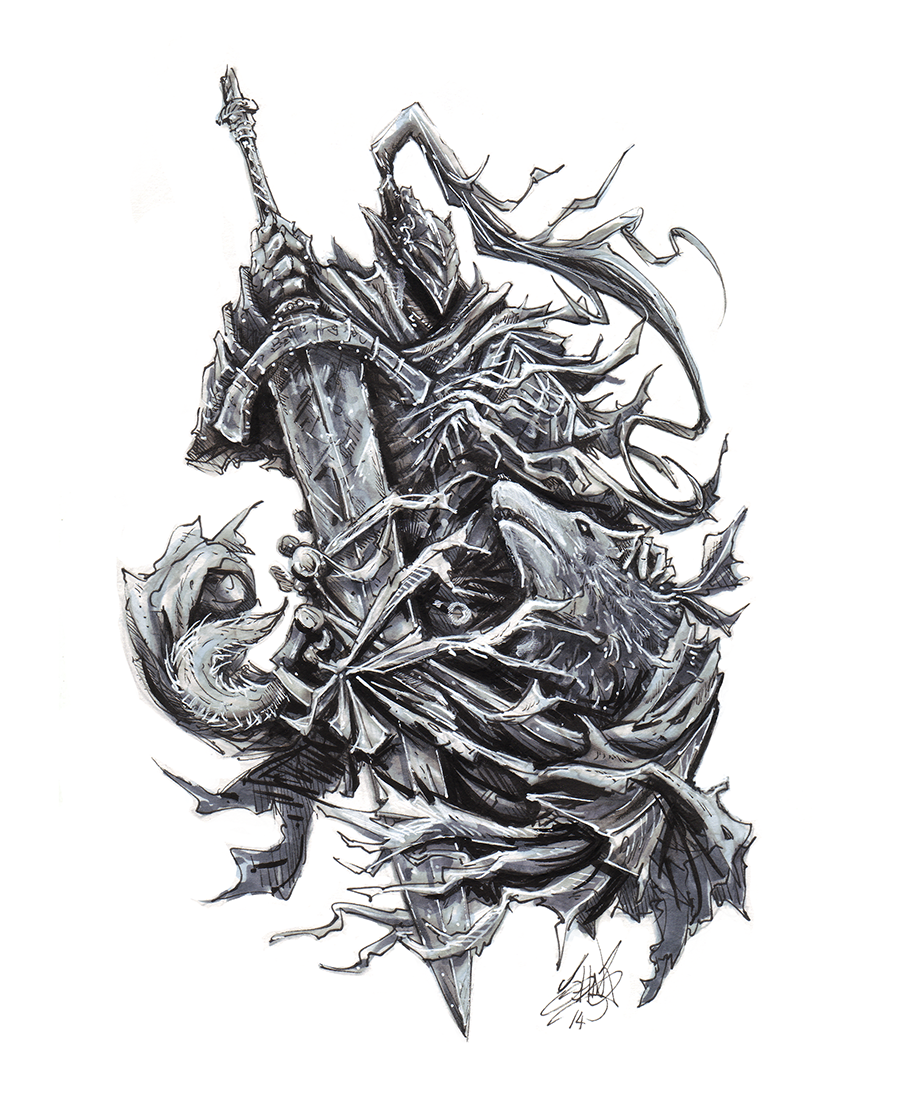 Dark Souls clipart black and white #10