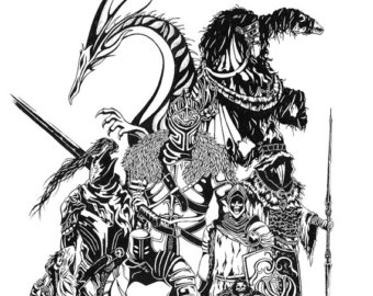 Dark Souls clipart black and white #2