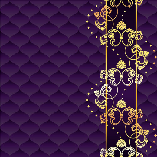 Dark Textures clipart golden texture With vector floral purple background