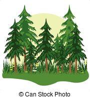 Wood clipart forrest Fur fog of Coniferous Vector
