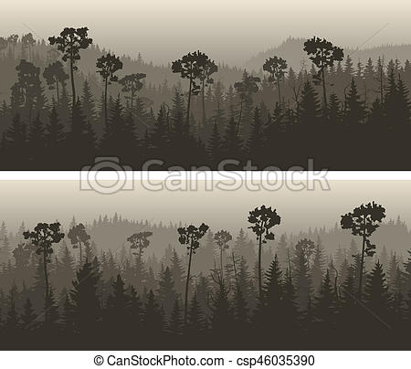 Dark Wood clipart coniferous forest In Stock wide horizontal banners