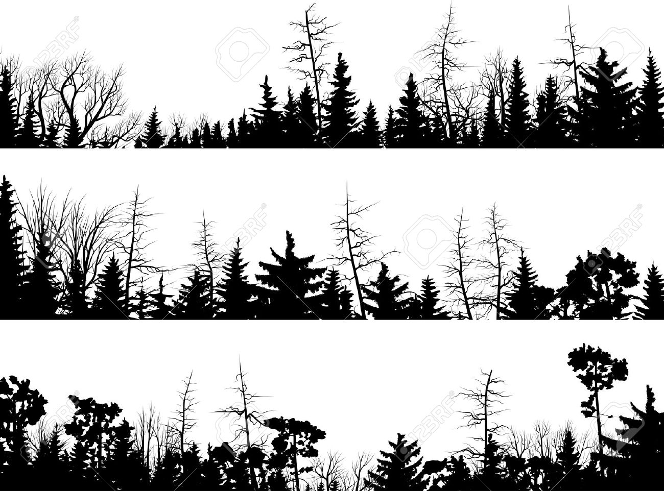 Forest clipart skyline Vector Set Treetops Horizontal Forest