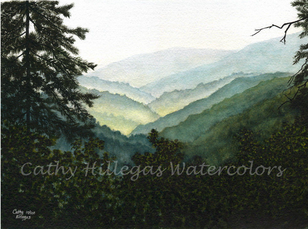 Dark Wood clipart green mountain Smoky watercolor Etsy Mountains landscape