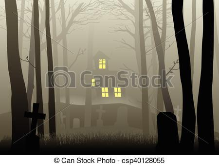 Dark Wood clipart scared the dark House Scary in  the