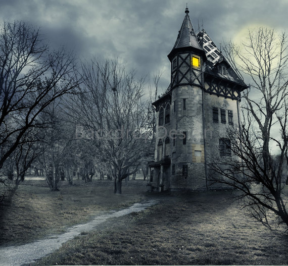 Dark Wood clipart scared the dark Castle Backdrop castle Halloween Dark