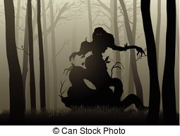 Dark Wood clipart scared the dark Woods Dark illustration  of