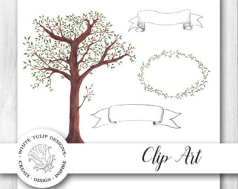 Dark Wood clipart woodland tree Clip art Trees Handpainted Watercolor