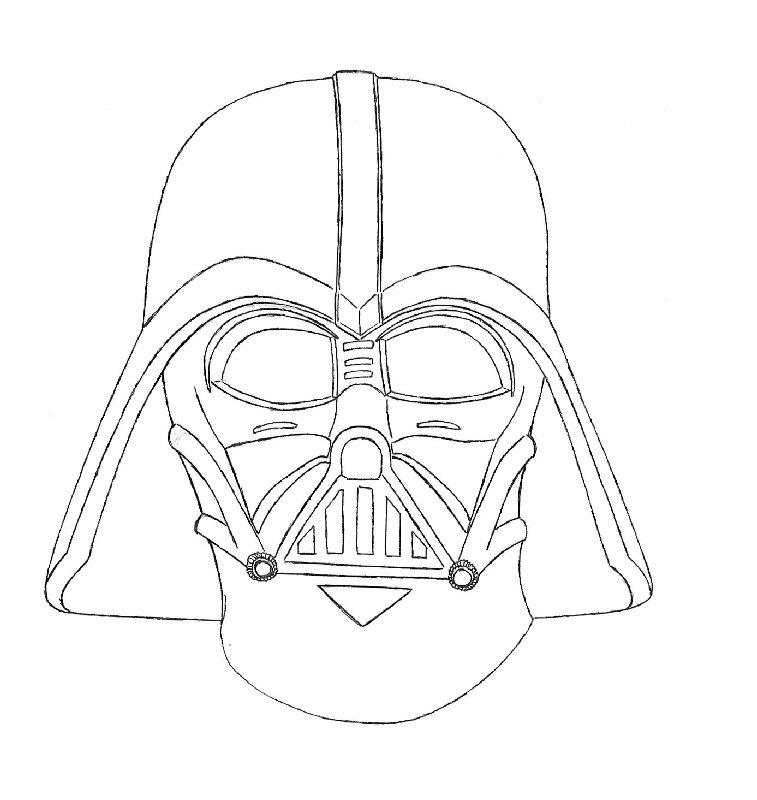 Drawn head hand holding Book Vader Darth Related Coloring