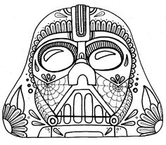 Day Of The Dead clipart coloring sheet Day Vader  of adult
