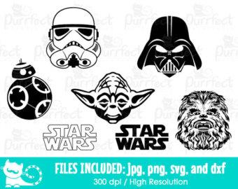 Luke Skywalker clipart stormtrooper Chewbacca Digital Etsy Cut Wars