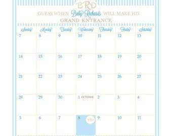 Date clipart blank calendar Date Guess Calendar // Shower