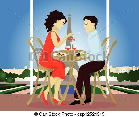 Date clipart cafe Paris csp42524315 Date Date Paris
