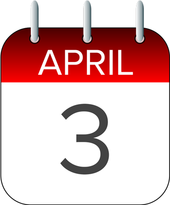 Date clipart next week 3 April  2017 of