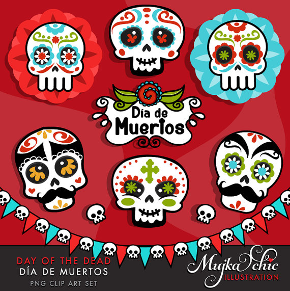 Day Of The Dead clipart girly skull Skulls de Day clipart Sugar