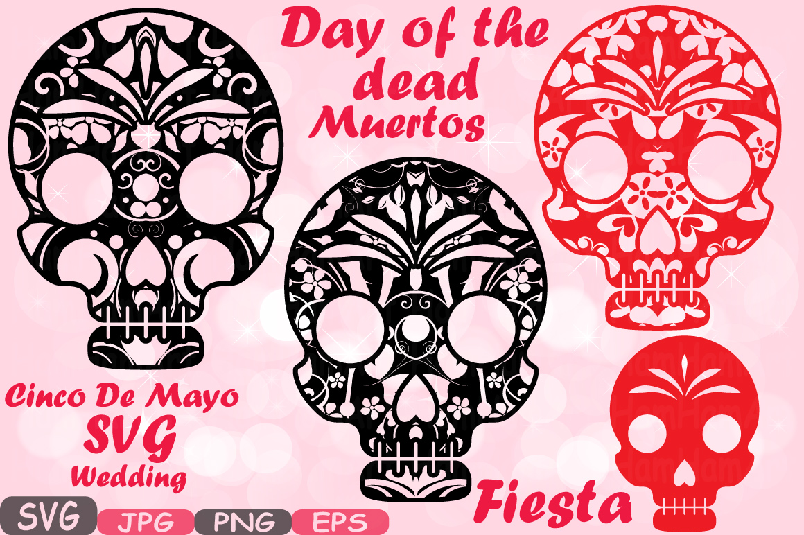 Day Of The Dead clipart girly skull SVG Fiesta png Halloween Old