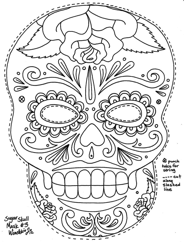 Day Of The Dead clipart coloring sheet  of coloring day mardi