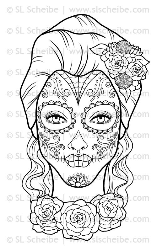Day Of The Dead clipart coloring sheet Stamp template Digital of Day
