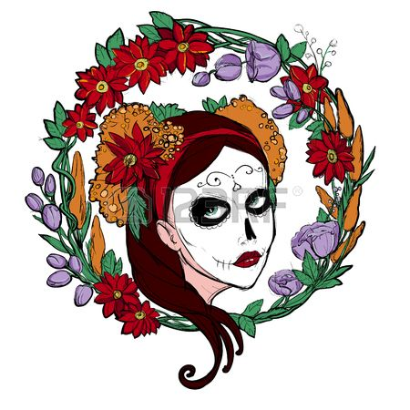 Day Of The Dead clipart face Woman on skull Dead images