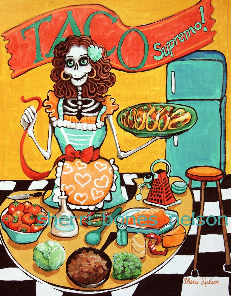 Day Of The Dead clipart girly skull  Kitchen Print Poster Mexican