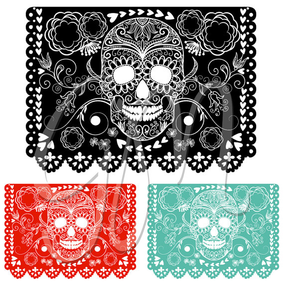 Day Of The Dead clipart papel picado Sugar Picado Digital Dead Skull