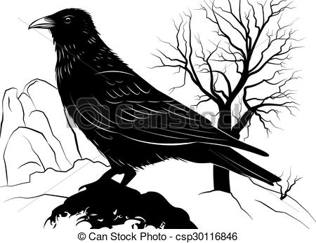 Dead clipart raven Of with Vector background EPS